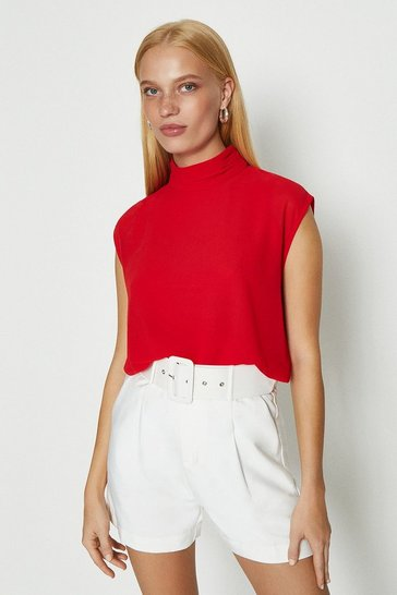 Red High Neck Georgette Top