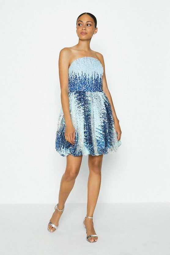 Blue Sequin Bandeau Puffball Dress