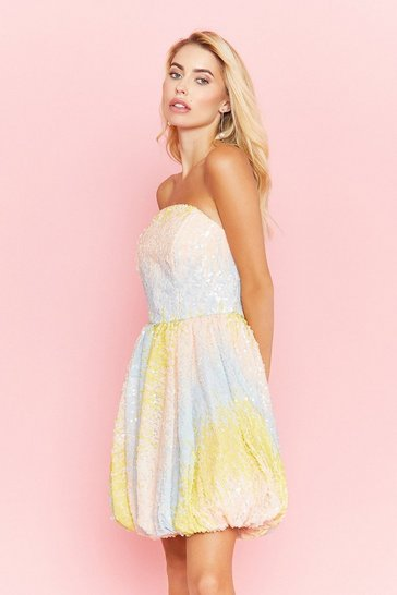 Yellow Sequin Bandeau Puffball Dress