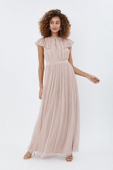 Blush Angel Sleeve Mesh Maxi Dress