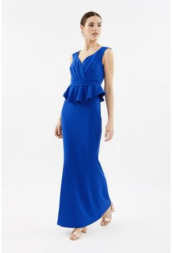 Blue V-Neck Peplum Waist Maxi Dress