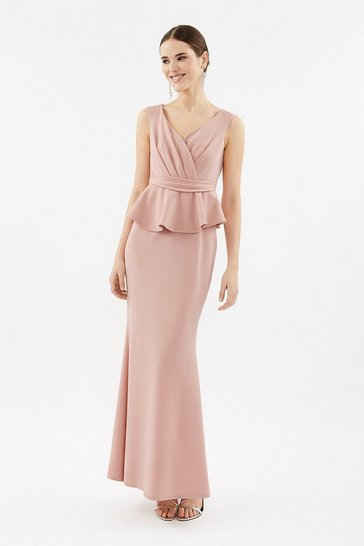 Blush V-Neck Peplum Waist Maxi Dress
