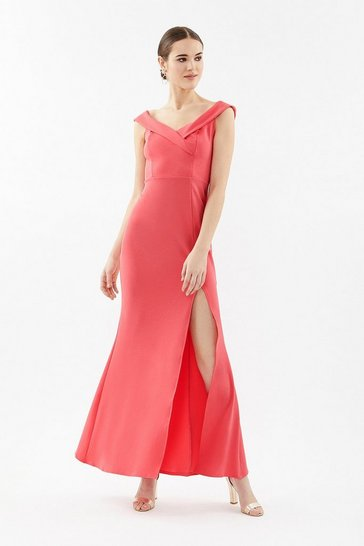 Coral Bardot Cross Neck Maxi Dress