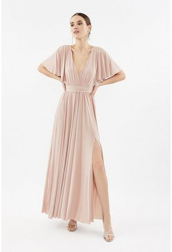 Blush Jersey Flared Sleeve Wrap Maxi Dress