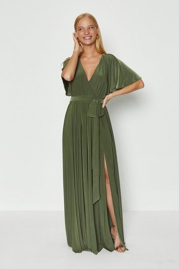 Olive Jersey Flared Sleeve Wrap Maxi Dress