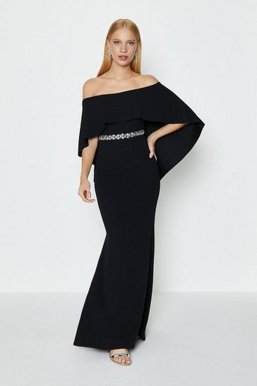 Black Bardot Caped Maxi Dress