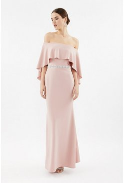 Blush Bardot Caped Maxi Dress