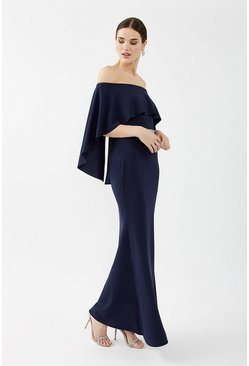 Navy Bardot Caped Maxi Dress