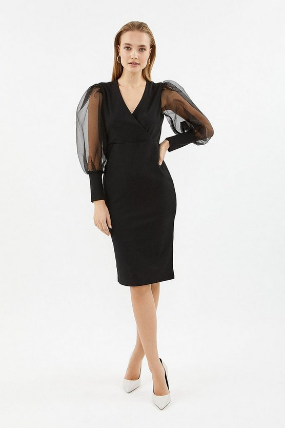 Black Organza Puff Sleeve Wrap Dress