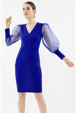 Cobalt Organza Puff Sleeve Wrap Dress