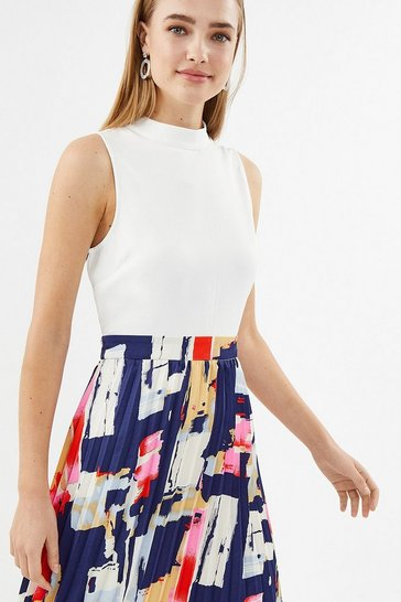 Multi Graphic Pleated Skirt Dress