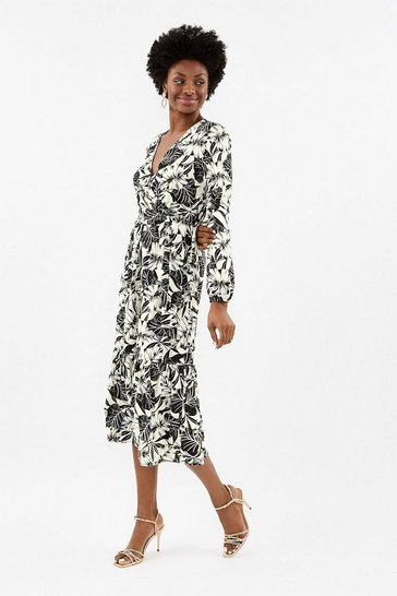 Blackwhite Leaf Print Wrap Midi Dress