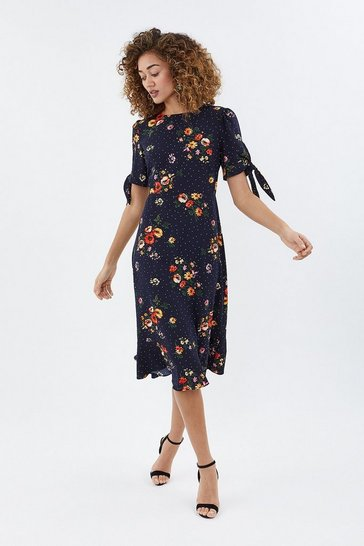 Multi Spot Floral Frill Hem Midi Dress