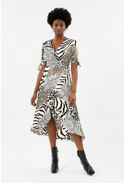 Blackwhite Animal Print Wrap Midi Dress