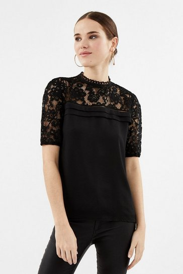 Black Sleeved Lace Shell Top