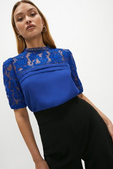 Cobalt Sleeved Lace Shell Top