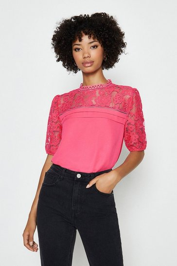 Hot pink Sleeved Lace Shell Top