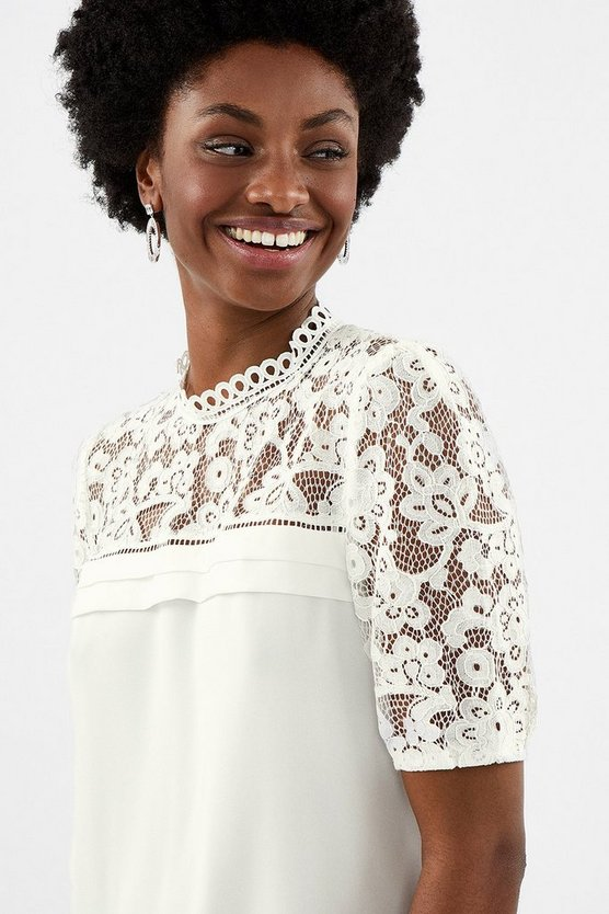 Ivory Sleeved Lace Shell Top
