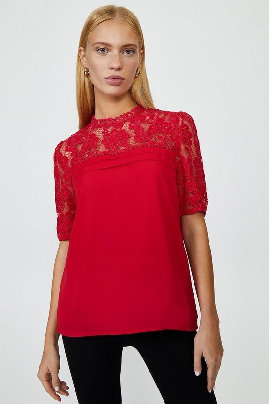 Red Sleeved Lace Shell Top