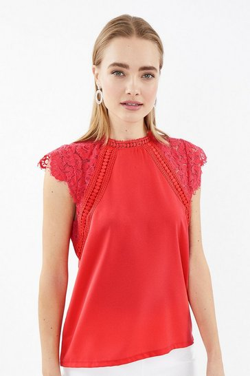 Coral Lace High Neck Cap Sleeve Top