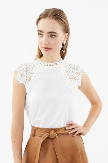 Ivory Lace High Neck Cap Sleeve Top