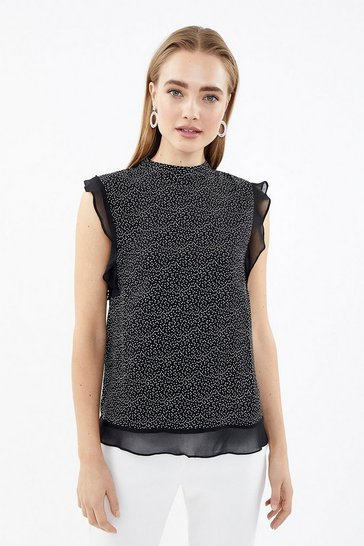 Blackwhite Frill Sleeve Spot Top