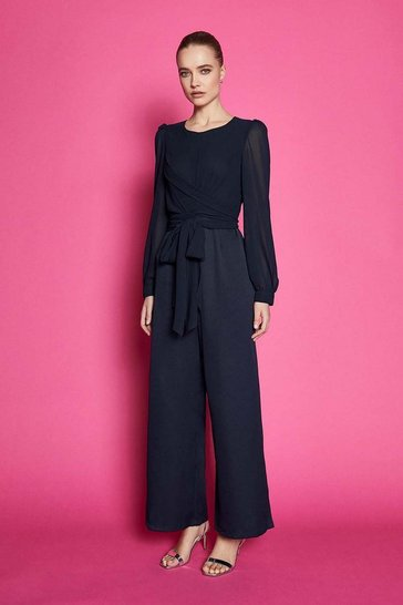Navy Long Sleeve Wrap Bodice Jumpsuit
