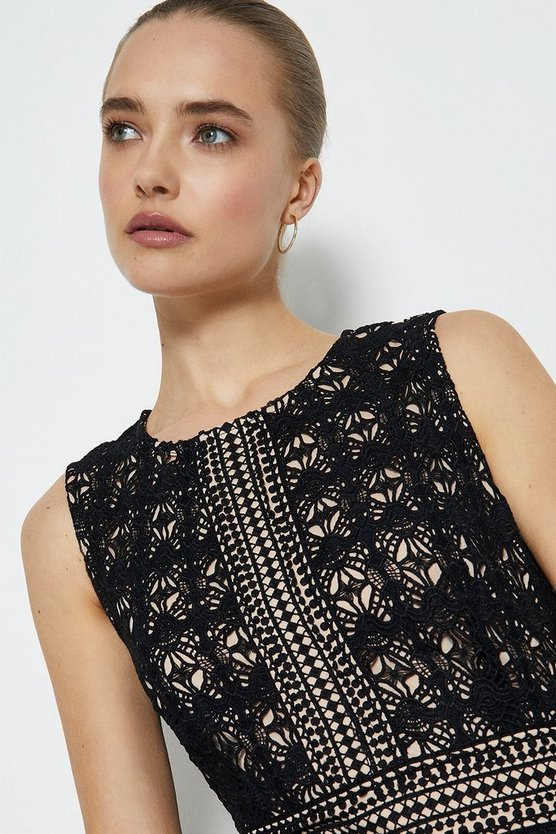 Black Sleeveless Lace Midi Shift Dress