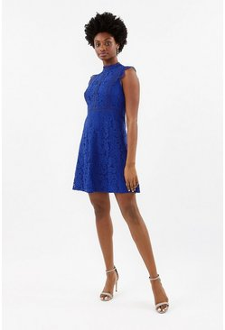 Cobalt A-Line Lace Trim Sleeve Short Dress