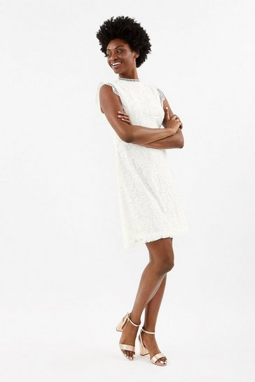Ivory A-Line Lace Trim Sleeve Short Dress