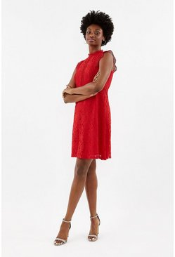 Red A-Line Lace Trim Sleeve Short Dress