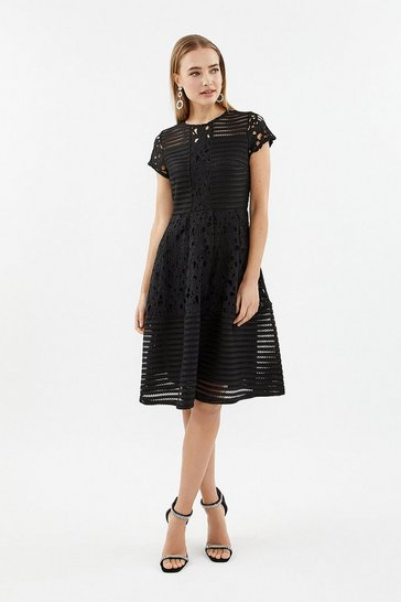 Black Stripe Bodice Lace Panelled Dress