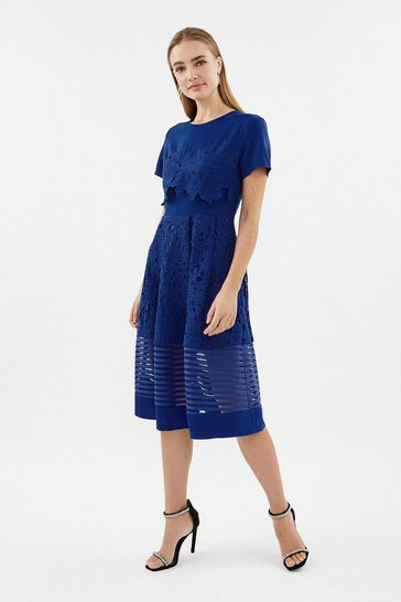 Cobalt Lace & Stripe Full Midi Dress