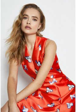 Red Printed High Low Midi Dress