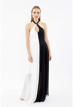 Mono Halterneck Keyhole Maxi Dress