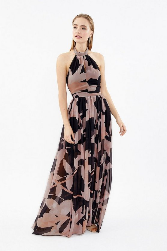 Mono Printed Halter Neck Maxi Dress