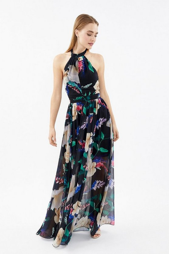 Multi Printed Halter Neck Maxi Dress