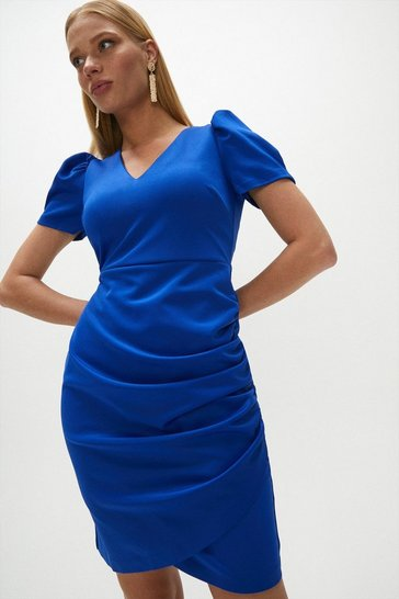 Cobalt Scuba Puff Sleeve Dress