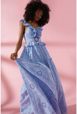 Blue Broderie Tiered Maxi Dress