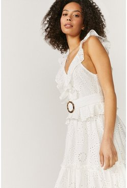 Ivory Broderie Tiered Maxi Dress