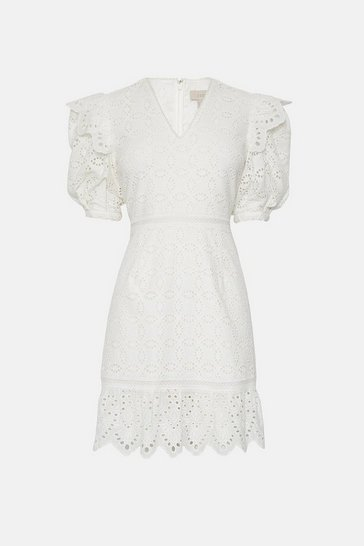 Ivory Lace Puff Sleeve Dress
