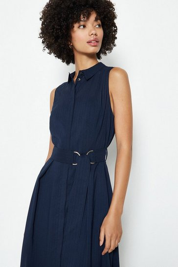 Navy Sleeveless Tie Belt Shirt Dress