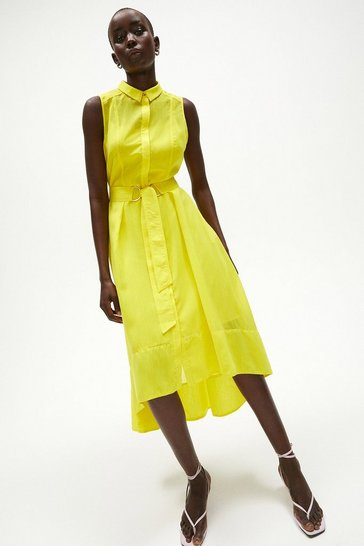 Yellow Sleeveless Tie Belt Shirt Dress