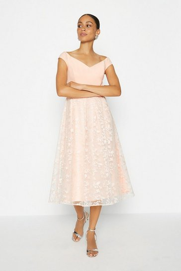 Blush Bardot Embroidered Skirt Dress