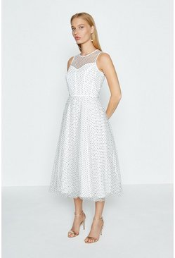 Mono Sleeveless PolkaDot Full Skirted Mesh Dress