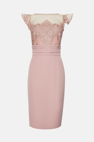 Blush Short Sleeve Lace Yoke Shift Midi Dress