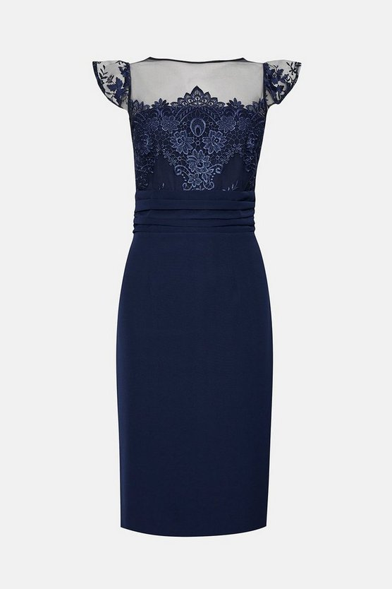Navy Short Sleeve Lace Yoke Shift Midi Dress