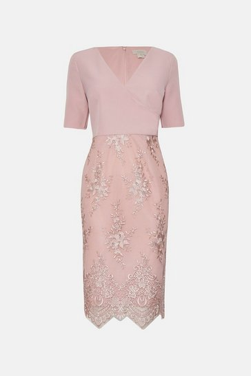 Blush Wrap Front Embroidered Midi Skirt Dress