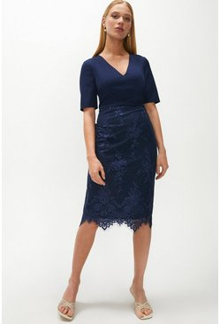 Navy Wrap Front Embroidered Midi Skirt Dress