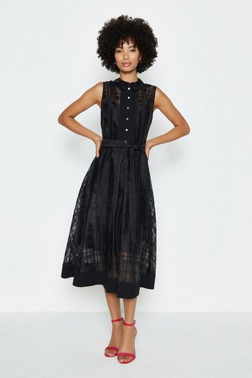 Black Check Organza Shirt Dress